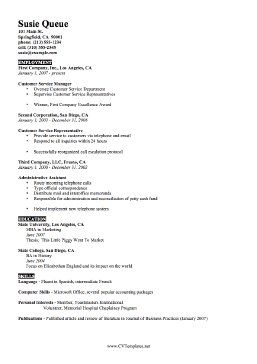 Brief CV Template (A4)