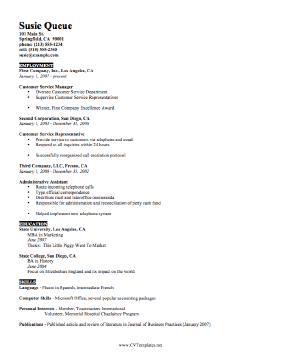 brief cv template - Brief Resume Format