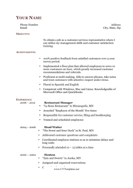 Career Change CV (A4)