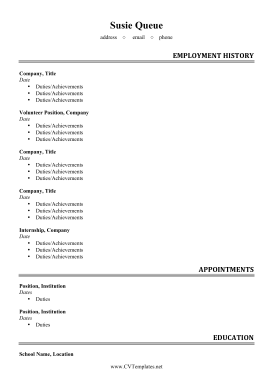 Integrated Volunteer CV (A4)