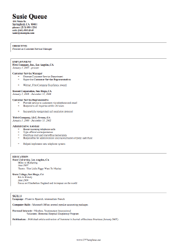 Management CV Template (A4)