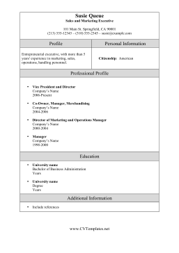 Marketing Sales Executive CV Template (A4)