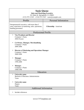 Marketing Sales Executive CV Template
