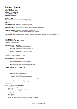 Qualifications CV Template (A4)