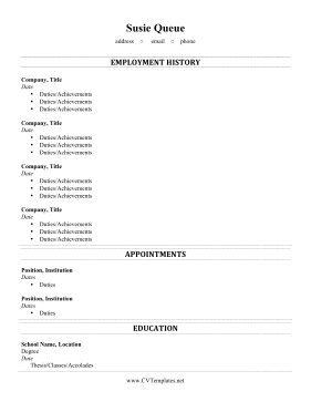 Separate Volunteer CV