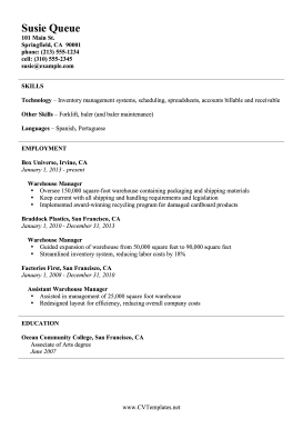 Warehouse Manager CV (A4)